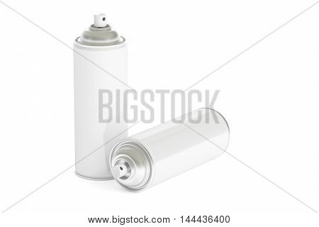 white spray paint cans 3D rendering isolated on white background