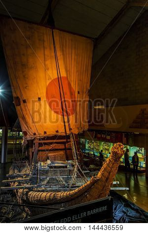 OSLO, NORWAY - JULY 1, 2016: It's a boat of papyrus Ra-2 on which Thor Heyerdahl made a transatlantic crossing.