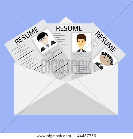 Letter to resume on job candidates. Choice and headhunting research to summary vector illustration