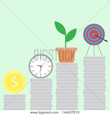 Successful startup flat. Startup business step by step ladder of success. Vector illustration