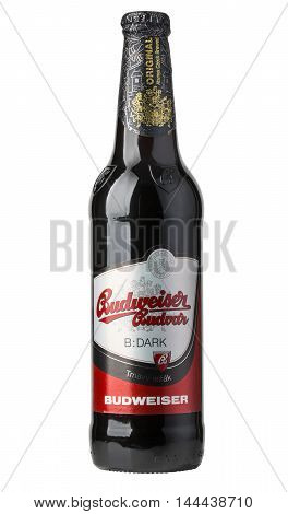 Chisinau moldova - December 26 2016; A single bottle of Budweiser on white with clipping path. From Anheuser-Busch InBev Budweiser is one of the top selling domestic beers in the United States.