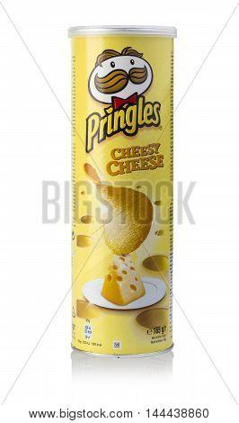 Chisinau Moldova - August 18 2016: Pringles potato chips isolated on white