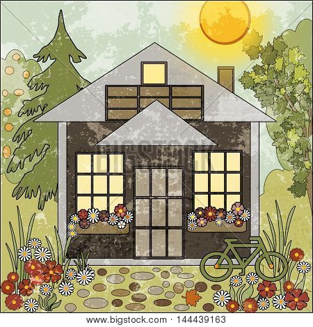 Garden floral illustration with house and trees
