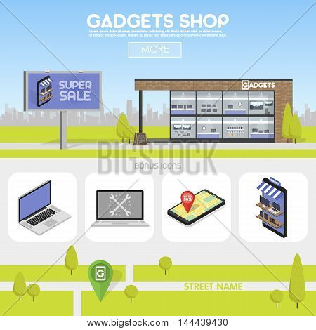 Facade gadgets shop in the urban space, the sale of computers, laptops, phones, tablets. Billboard advertising from selling electronics. Template concept for the website, advertising and sales.