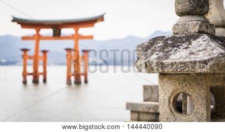 Miyajima Floating Torii focused on Stone decoration