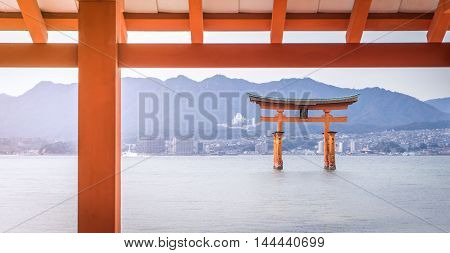 Hiroshima, Japan - March 16, 2016: Hiroshima on March 16, 2016. Miyajima floating gate is the most famous tourist destination in Hiroshima.