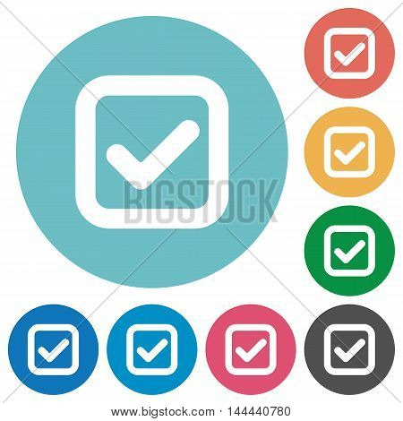 Flat checkbox icon set on round color background.