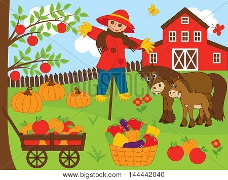 Vector farm with autumn harvest, scarecrow, horse