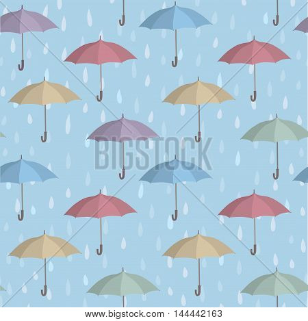 Umbrellas over raindrop background. Rainstorm Seamless Pattern. Rainy weather ornament. Water drops tiled wallpaper