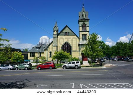 PETOSKEY, MICHIGAN / UNITED STATES - AUGUST 5, 2016: The Crooked Tree Arts Center offers art classes and performances in a building that originally housed a United Methodist Church in downtown Petoskey.