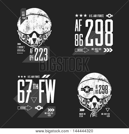 Modern American air force old grunge effect tee print vector design set.