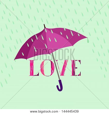 Love lettering sign over rain under umbrella protection. Love type icon isolated over white background. Valentine's day greeting card design