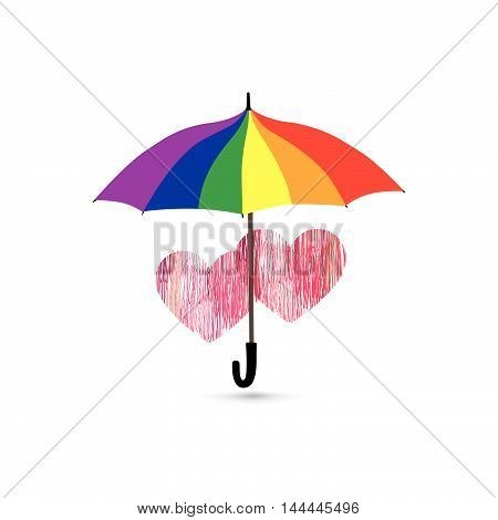 Love heart sign over rainbow colored umbrella. Two hearts in love icon isolated over white background. Valentine's day greeting card