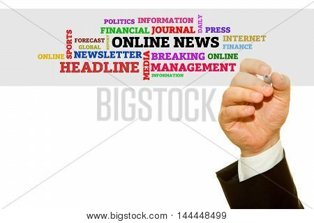 Hand writing words about Online News concept.