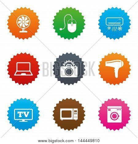 Home appliances, device icons. Electronics signs. Air conditioning, washing machine and ventilator symbols. Stars label button with flat icons. Vector