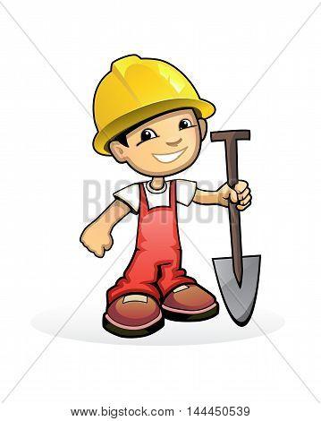 Vector illustration of a builder with shovel