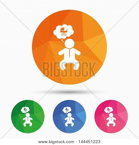 Baby infant think about buggy sign icon. Toddler boy in pajamas or crawlers body symbol. Triangular low poly button with flat icon. Vector