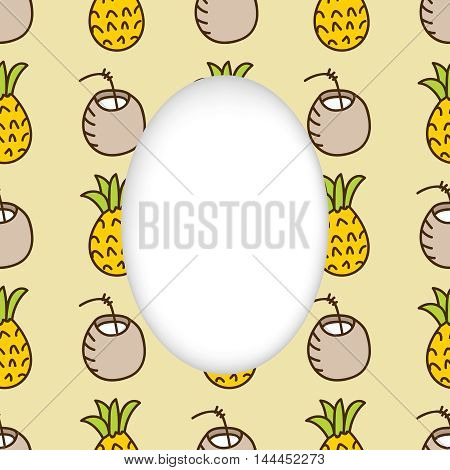 Greeting card background. Paper cut out, white shape with place for text. Frame with seamless pattern. Seamless summer background. Hand drawn pattern. Bright colorful pineapple and cocktail backdrop