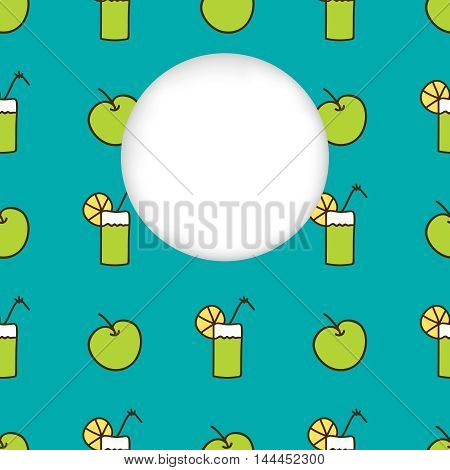 Greeting card background. Paper cut out, white shape with place for text. Frame with seamless pattern. Seamless summer background. Hand drawn pattern. Bright colorful green apple and cocktail backdrop