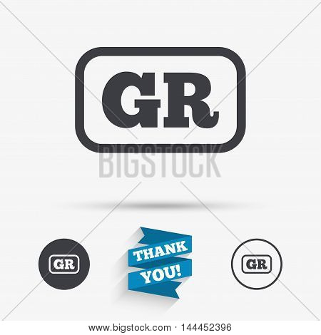 Greek language sign icon. GR Greece translation symbol with frame. Flat icons. Buttons with icons. Thank you ribbon. Vector