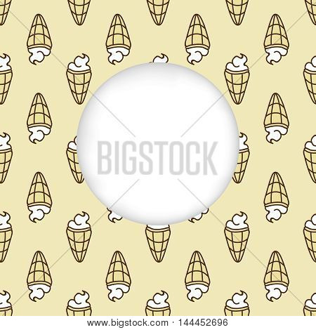 Greeting card background. Paper cut out, white shape with place for text. Frame with seamless pattern. Seamless summer background. Hand drawn pattern. Bright and colorful ice cream cone backdrop