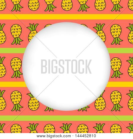 Greeting card background. Paper cut out, white shape with place for text. Frame with seamless pattern. Seamless summer background. Hand drawn pattern. Pineapple striped summer pattern. Summer pattern