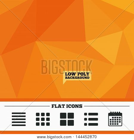 Triangular low poly orange background. List menu icons. Content view options symbols. Thumbnails grid or Gallery view. Calendar flat icon. Vector