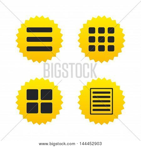 List menu icons. Content view options symbols. Thumbnails grid or Gallery view. Yellow stars labels with flat icons. Vector