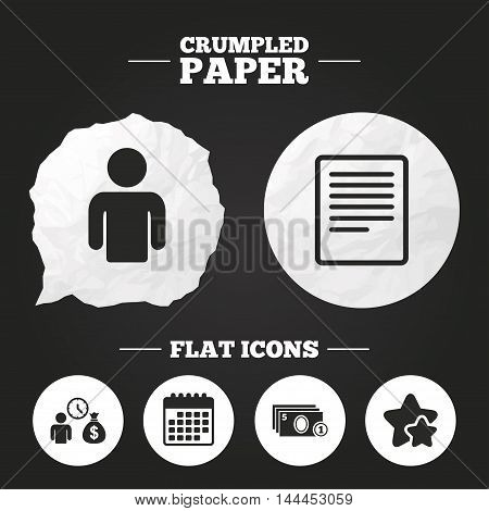 Crumpled paper speech bubble. Bank loans icons. Cash money bag symbol. Apply for credit sign. Fill document and get cash money. Paper button. Vector