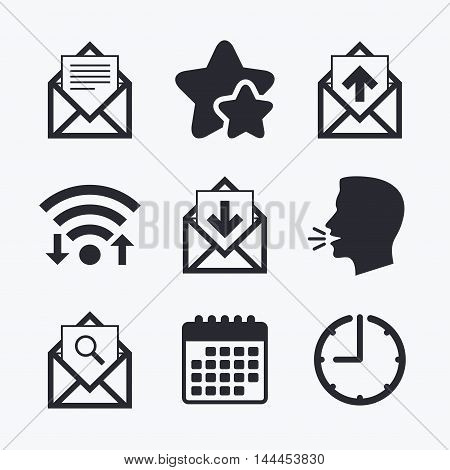 Mail envelope icons. Find message document symbol. Post office letter signs. Inbox and outbox message icons. Wifi internet, favorite stars, calendar and clock. Talking head. Vector