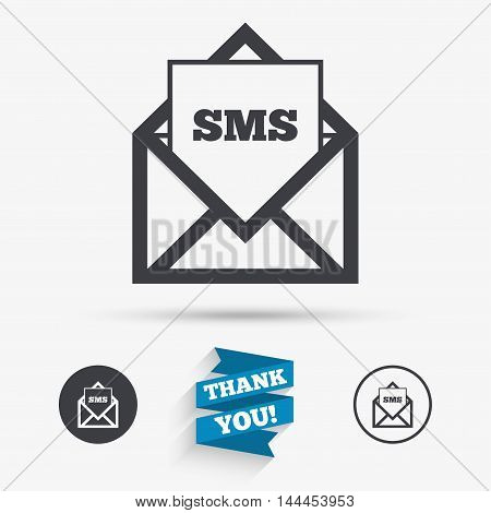Mail icon. Envelope symbol. Message sms sign. Mail navigation button. Flat icons. Buttons with icons. Thank you ribbon. Vector