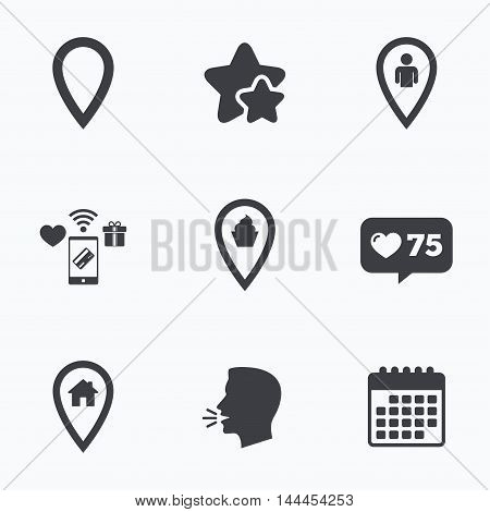 Map pointer icons. Home, food and user location symbols. Restaurant and cupcake signs. You are here. Flat talking head, calendar icons. Stars, like counter icons. Vector