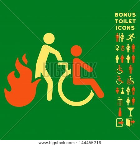 Fire Patient Evacuation icon and bonus male and female WC symbols. Vector illustration style is flat iconic bicolor symbols, orange and yellow colors, green background.