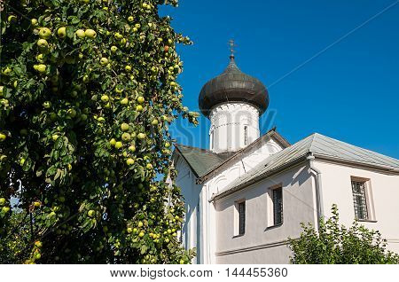 Closeup of Church of Simeon the God Receiver in Zverin Pokrovsky Monastery Veliky Novgorod Russia - architecture landscape