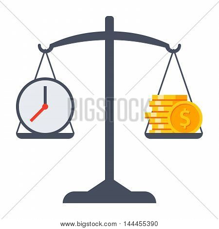 Business decisions concept with time and money on scales.