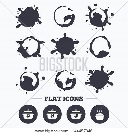Paint, coffee or milk splash blots. Cooking pan icons. Boil 13, 14 and 15 minutes signs. Stew food symbol. Smudges splashes drops. Vector