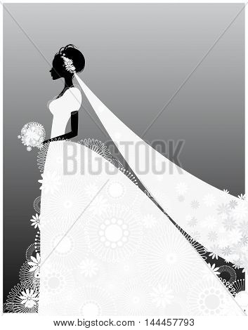 Vector illustration of a bride in white dress