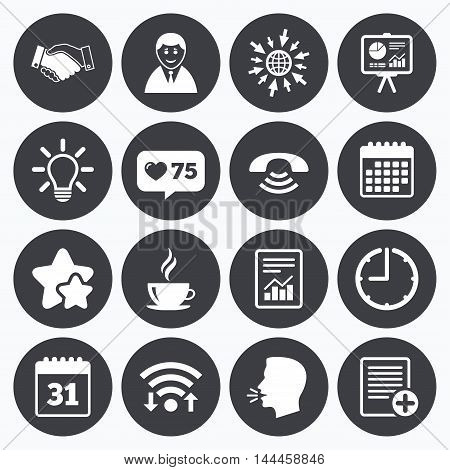 Calendar, wifi and clock symbols. Like counter, stars symbols. Office, documents and business icons. Businessman, handshake and call signs. Chart, presentation and calendar symbols. Talking head, go to web symbols. Vector
