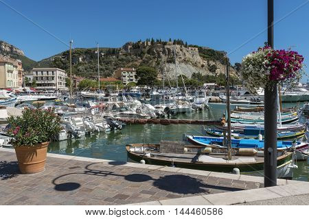 Cassis harbor in the French Riviera during sunny day