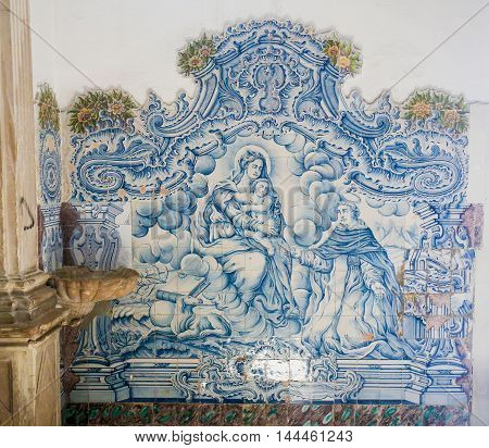 Azulejo Of Mother Mary, The Infant Jesus And St Dominic In The Cathedral Of Aveiro