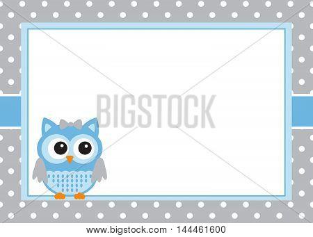 Vector baby boy owl invitation card template