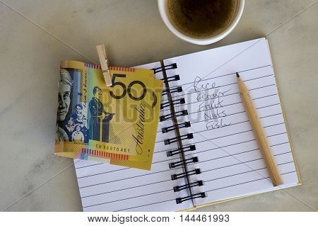 Shopping list with Australian money and coffee.