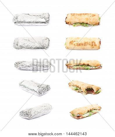Sub sandwich isolated over the white background, set of multiple foreshortenings with and without the silver foil wrap