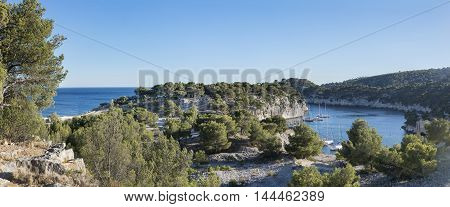 Panoramic view on calanques in Cassis near Marseille Provence France.