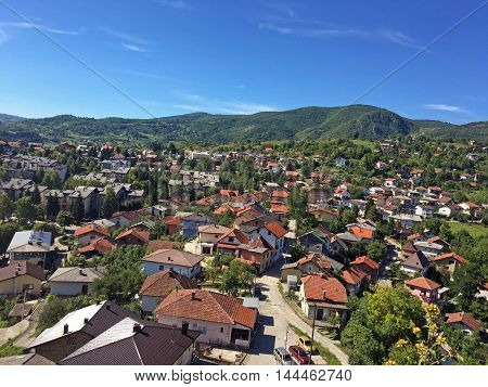 Travel to Europa under summer.Panoramic view from old castle in the Jajce,Bosnia and Herzegovina