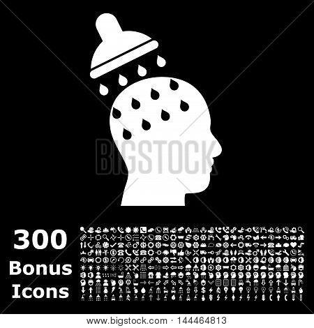 Brain Washing icon with 300 bonus icons. Vector illustration style is flat iconic symbols, white color, black background.