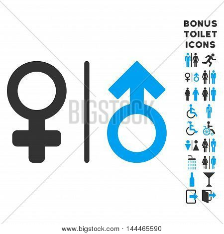 WC Gender Symbols icon and bonus man and woman lavatory symbols. Vector illustration style is flat iconic bicolor symbols, blue and gray colors, white background.