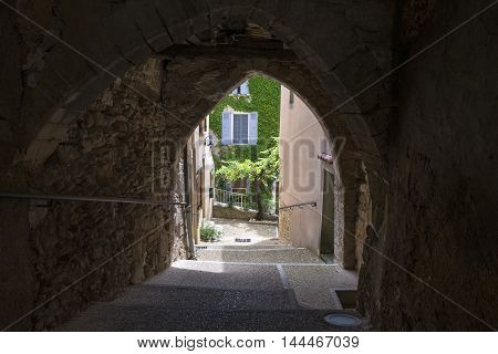 Small street of Saint-Saturnin-les-Apt. Village France .