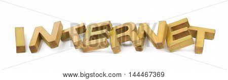 Word Internet made of colored with paint wooden letters, composition isolated over the white background