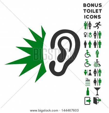 Listen Loud Sound icon and bonus man and woman lavatory symbols. Vector illustration style is flat iconic bicolor symbols, green and gray colors, white background.